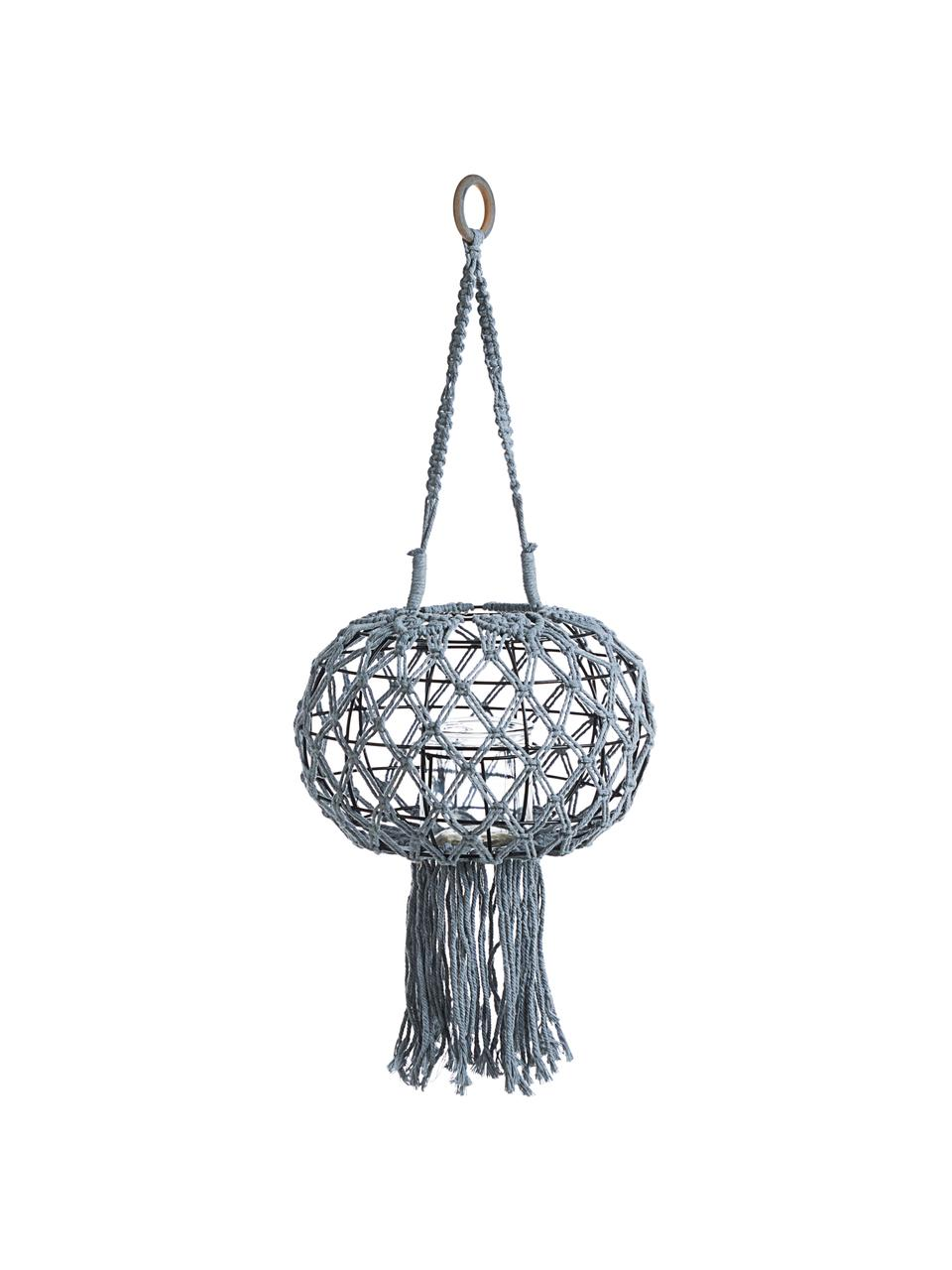 Wisząca latarenka Macrame, Stelaż: metal, Szary, Ø 31 x W 70 cm