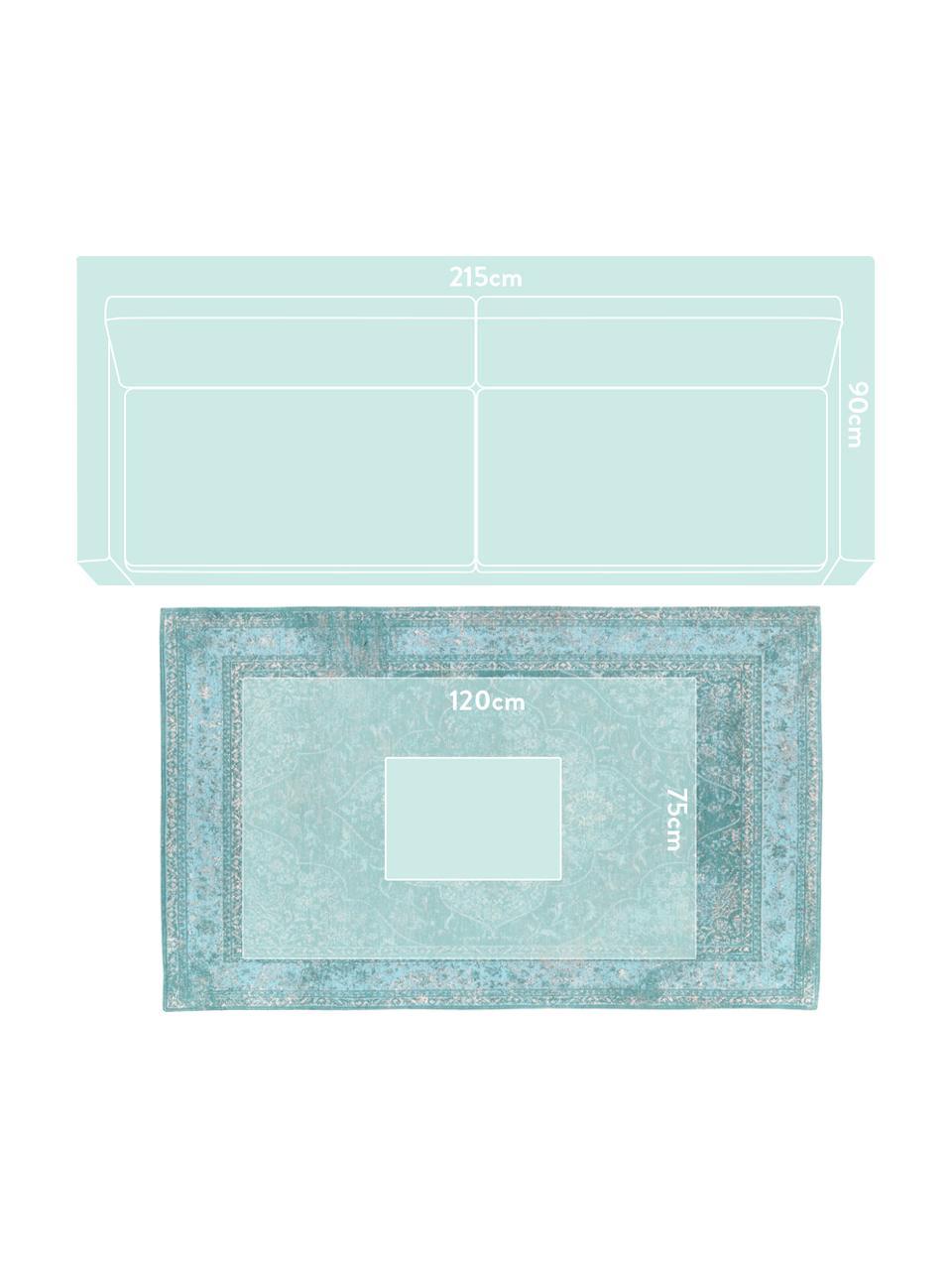Tappeto vintage in ciniglia turchese Palermo, Retro: 100% cotone, Turchese, azzurro, crema, Larg. 120 x Lung. 180 cm (taglia S)