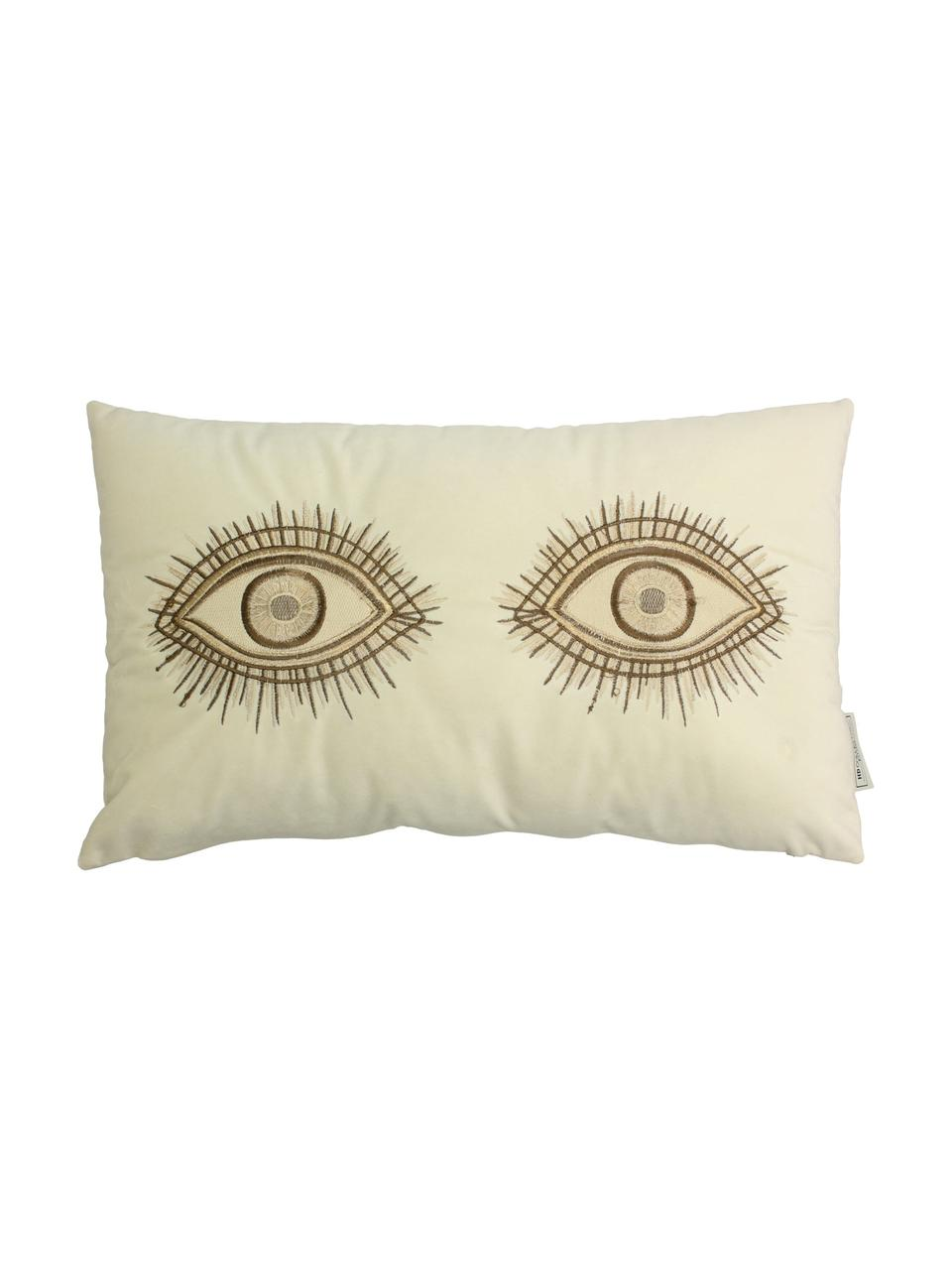 Samt-Kissen Eyes mit Stickerei, mit Inlett, 100% Samt, Elfenbein, Braun, 30 x 50 cm
