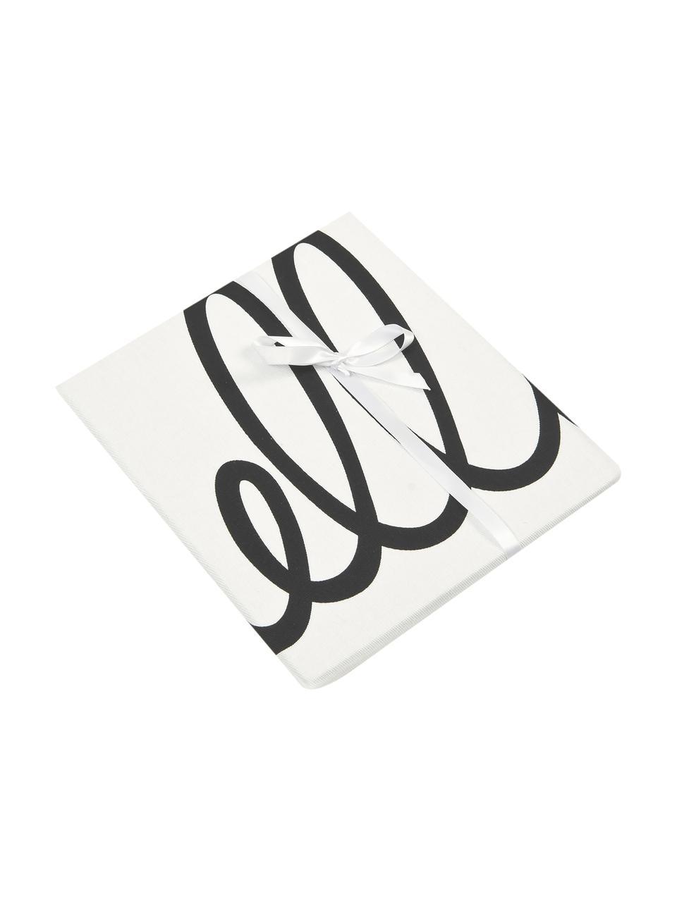 Federa arredo con scritta Hello, 100% cotone, tessuto panama, Nero, crema, Larg. 40 x Lung. 40 cm