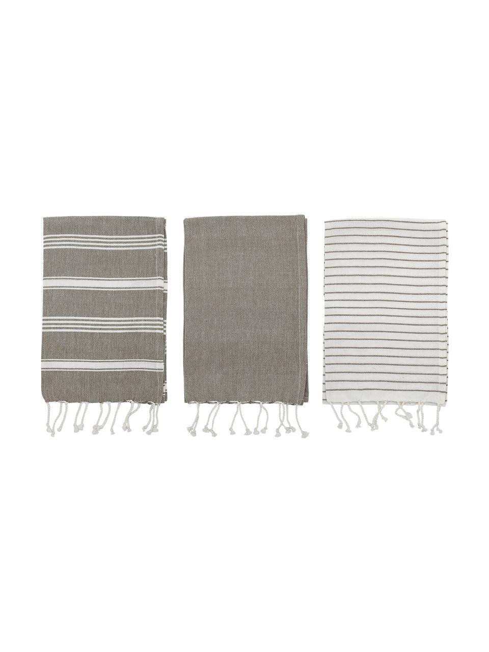 Set 3 strofinacci in cotone Nature, Cotone, Grigio, bianco, Larg. 45 x Lung. 70 cm