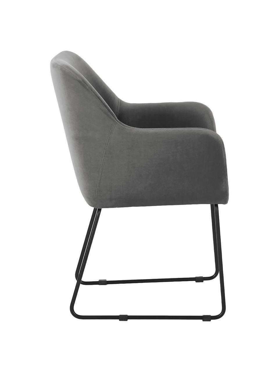 Chaise velours rembourré moderne Isla, Velours gris pierre, pieds noir