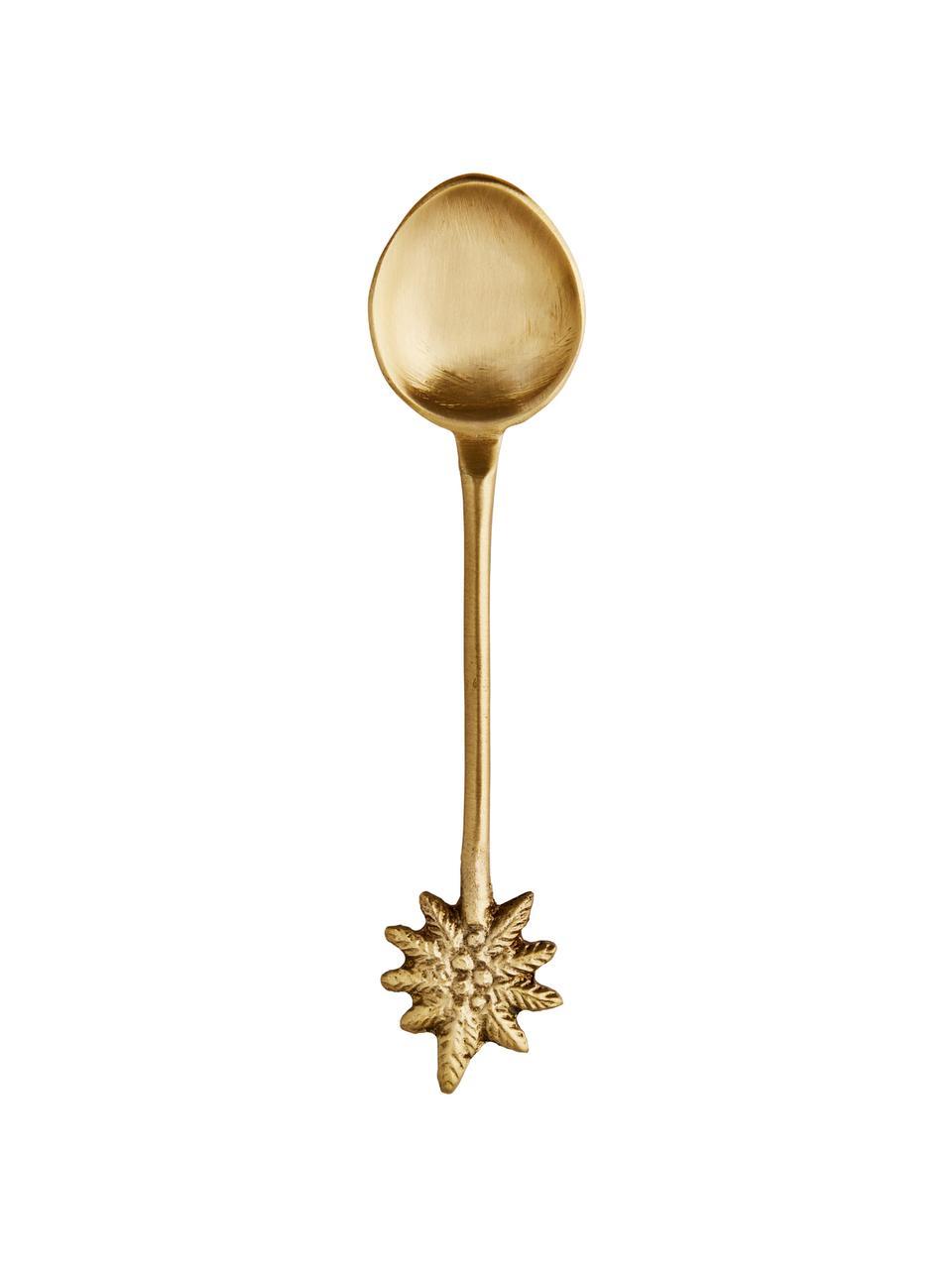 Goldfarbener Zuckerlöffel Mali aus Messing, Messing, Messing, L 11 cm
