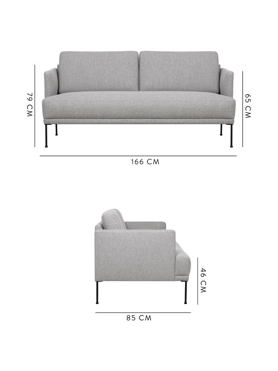 Canapé 2places tissu gris Fluente, Tissu gris clair