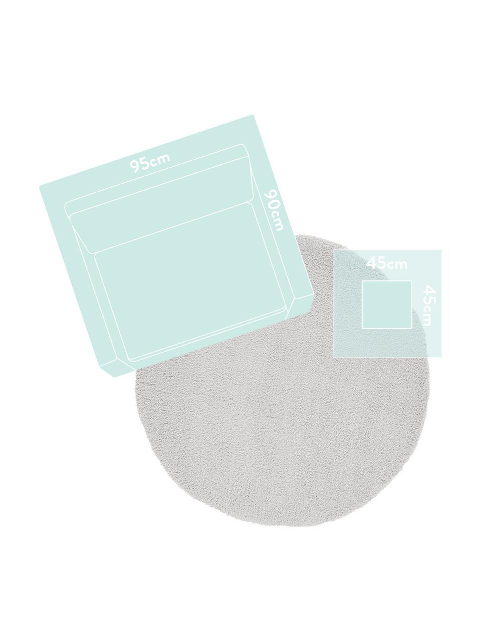 Tappeto peloso rotondo grigio chiaro Leighton, Retro: 70% poliestere, 30% coton, Grigio chiaro, Ø 200 cm (taglia L)