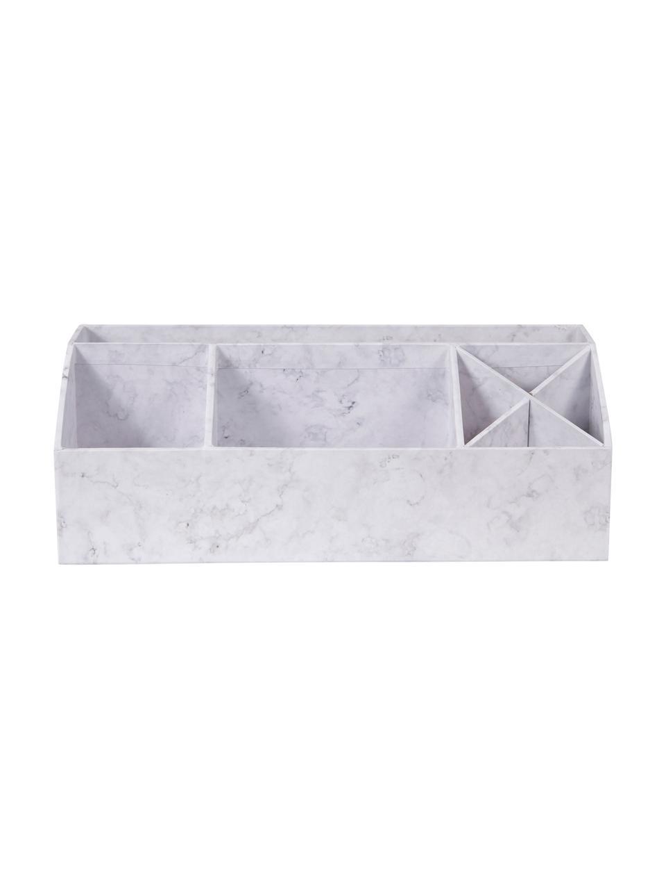 Büro-Organizer Elisa, Fester, laminierter Karton, Weiß, marmoriert, 33 x 13 cm