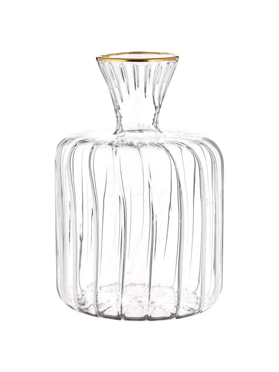 Kleine Glas-Vase Plinn, Glas, Transparent, Goldfarben, Ø 7 x H 10 cm