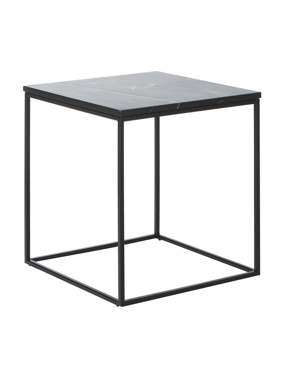 Tavolino con piano in marmo Alys, Struttura: metallo verniciato a polv, Piano: marmo nero Struttura: nero opaco, Larg. 45 x Alt. 50 cm