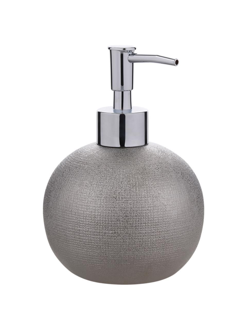 Dosatore di sapone Glitter in terracotta, Grigio argento, Ø 10 x Alt. 15 cm