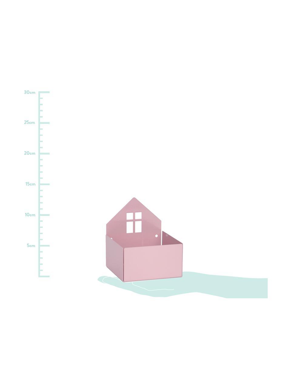 Opbergdoos Town House, Gepoedercoat metaal, Roze, 11 x 13 cm