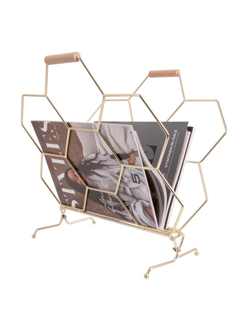 Zeitschriftenhalter Honeycomb, Griffe: Holz, Messingfarben, Holz, 40 x 45 cm