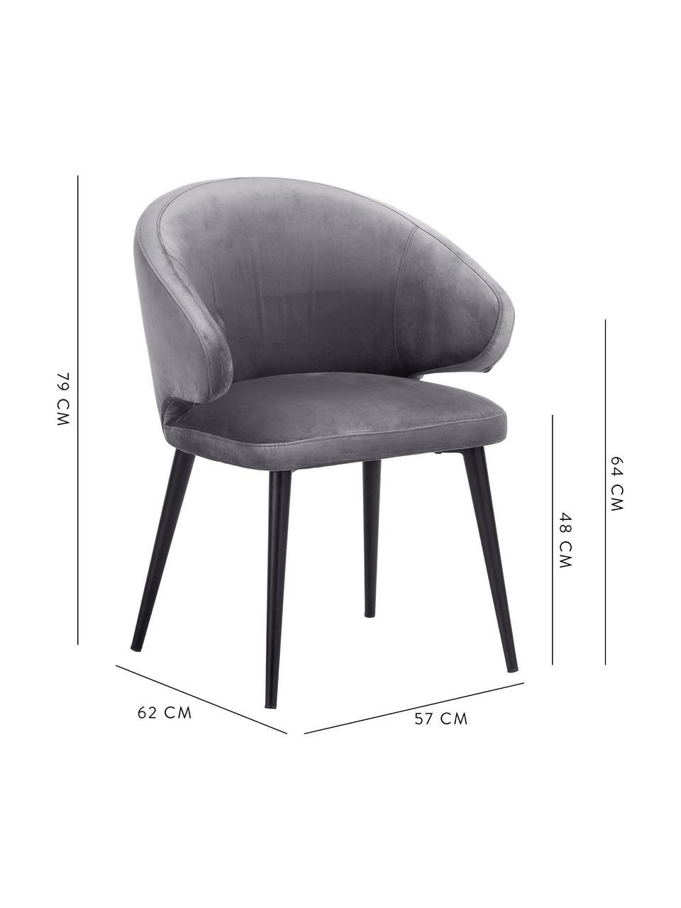 Fluwelen armstoel Celia in modern design, Bekleding: fluweel (polyester), Poten: gepoedercoat metaal, Fluweel staalgrijs, B 57 x D 62 cm