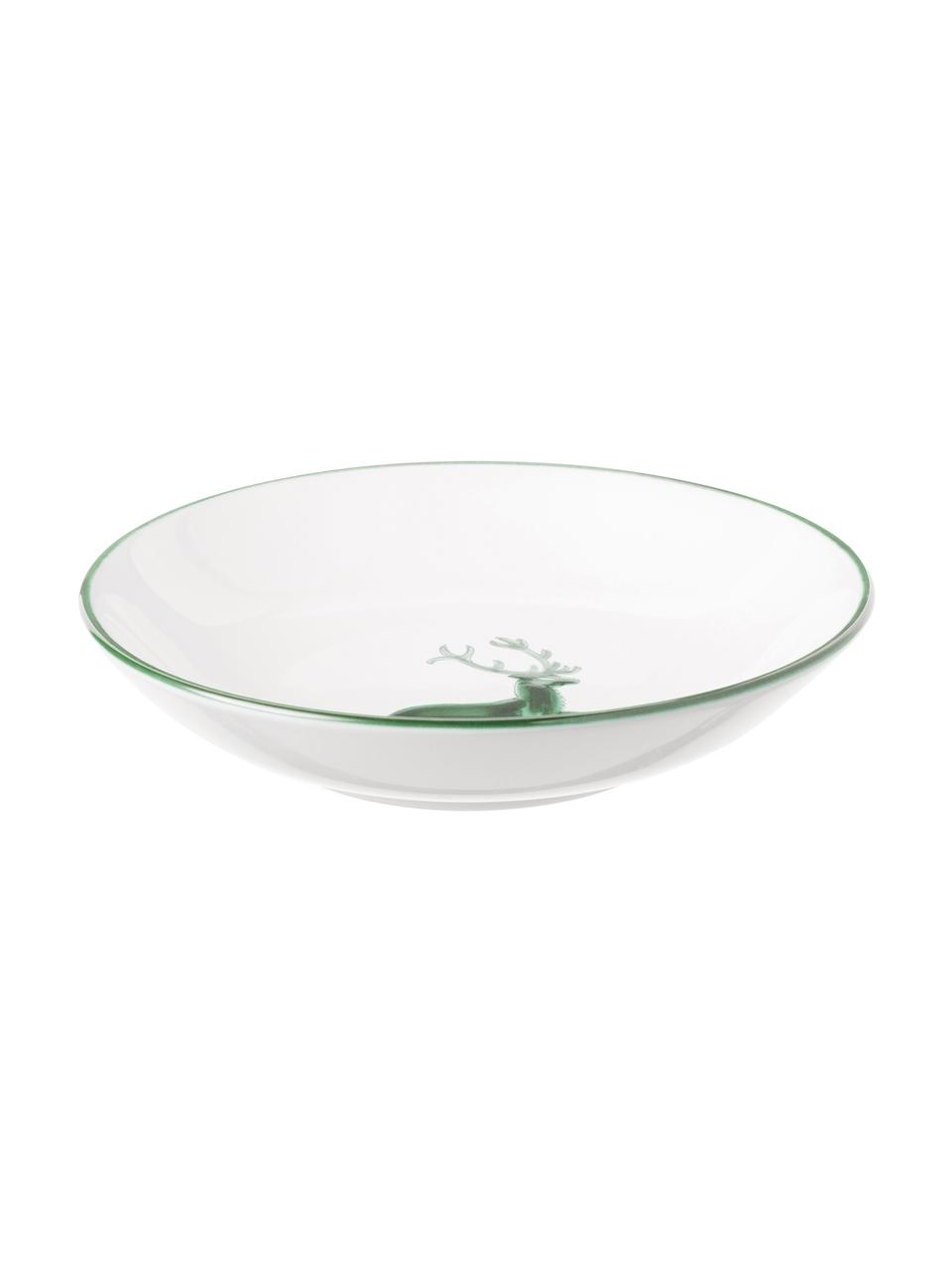 Handbeschilderd soepbord Classic Green Deer, Keramiek, Wit, Ø 20 cm