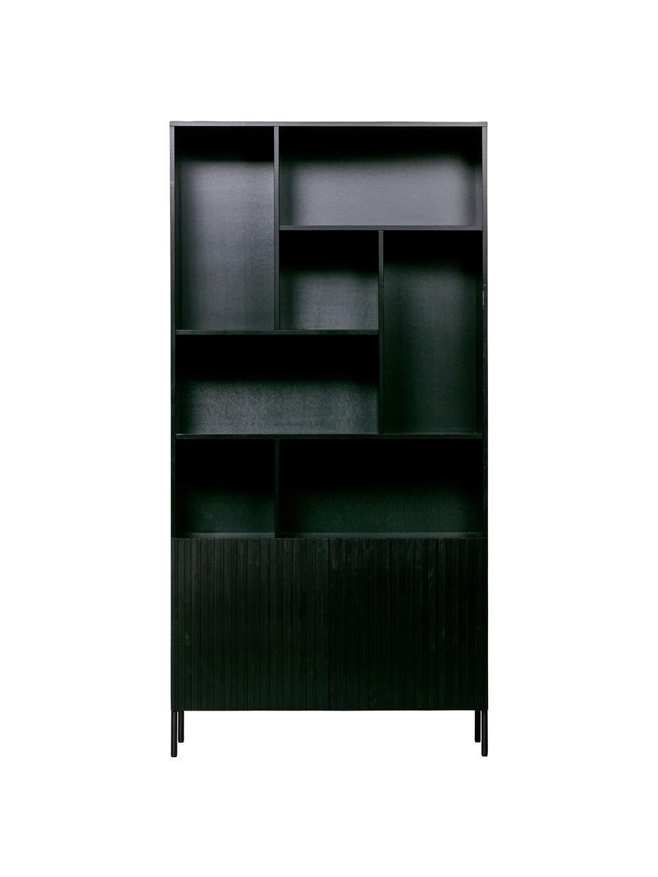 Schwarzes Standregal Gravure mit Stauraum, Korpus: Kiefernholz, massiv, lack, Einlegeböden: Sperrholz, laminiert, Schwarz, 100 x 200 cm