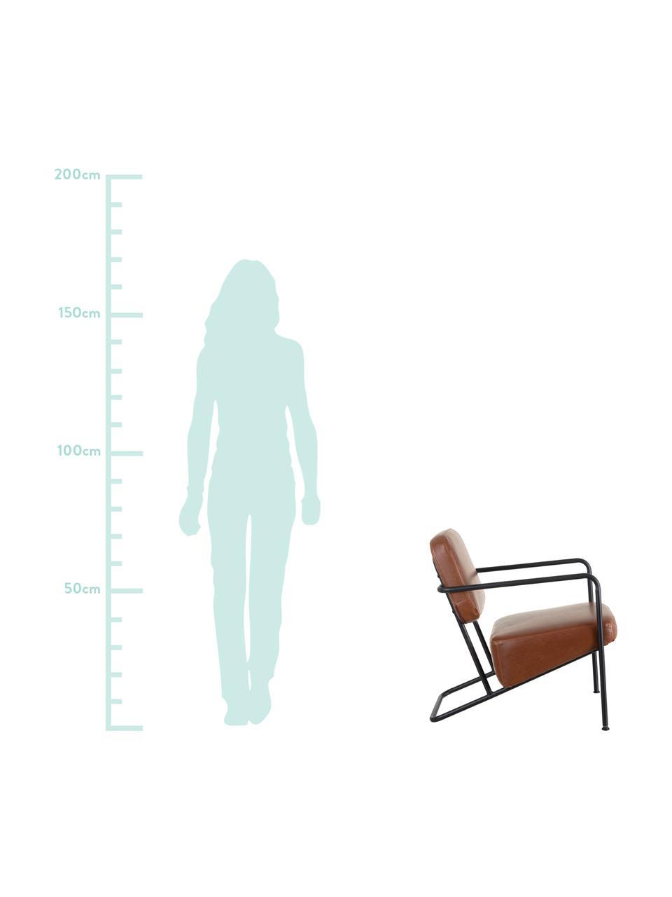 Kunstleder-Loungesessel Arms mit Metall-Gestell, Bezug: Kunstleder, Gestell: Schichtholz, Rahmen: Metall, beschichtet, Camel, B 57 x T 76 cm