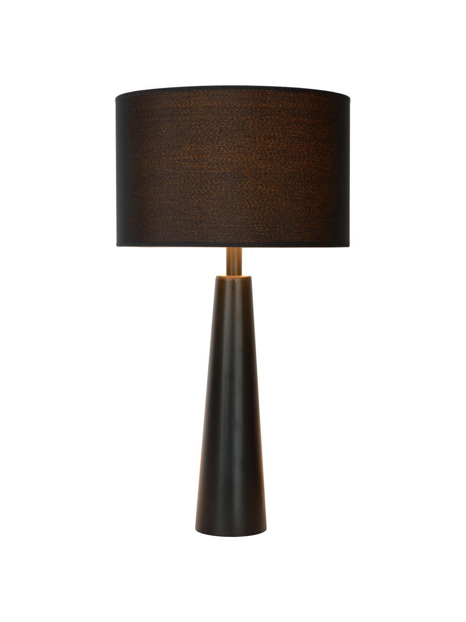 Große Tischlampe Yessin aus Leinen, Lampenschirm: Leinen, Lampenfuß: Metall, beschichtet, Schwarz, Ø 32 x H 58 cm