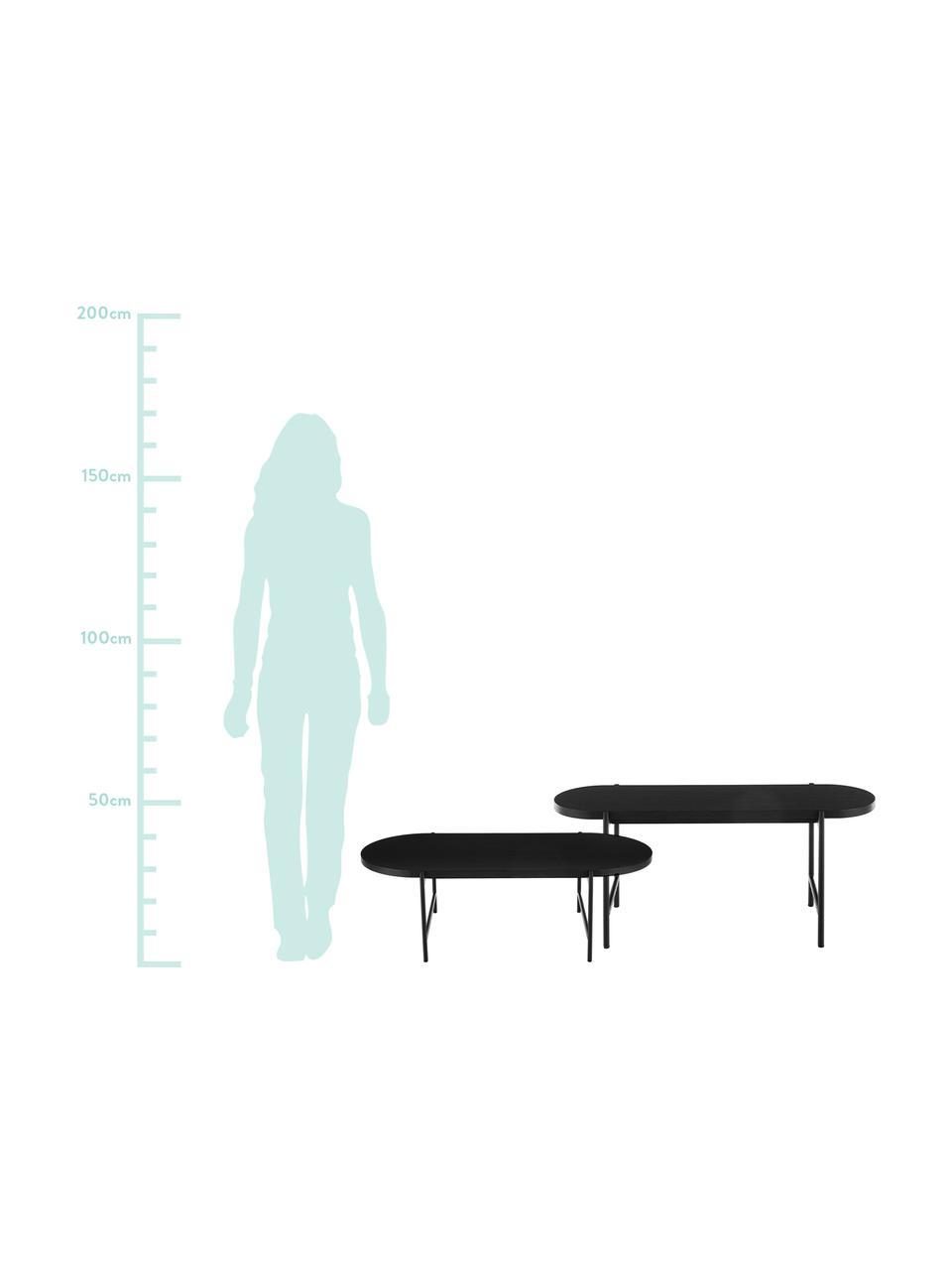 Schwarzes Couchtisch 2er-Set Mica mit Holzplatte, Tischplatten: Eichenholzfurnier, schwarz lackiertBeine: Schwarz, matt, Sondergrößen