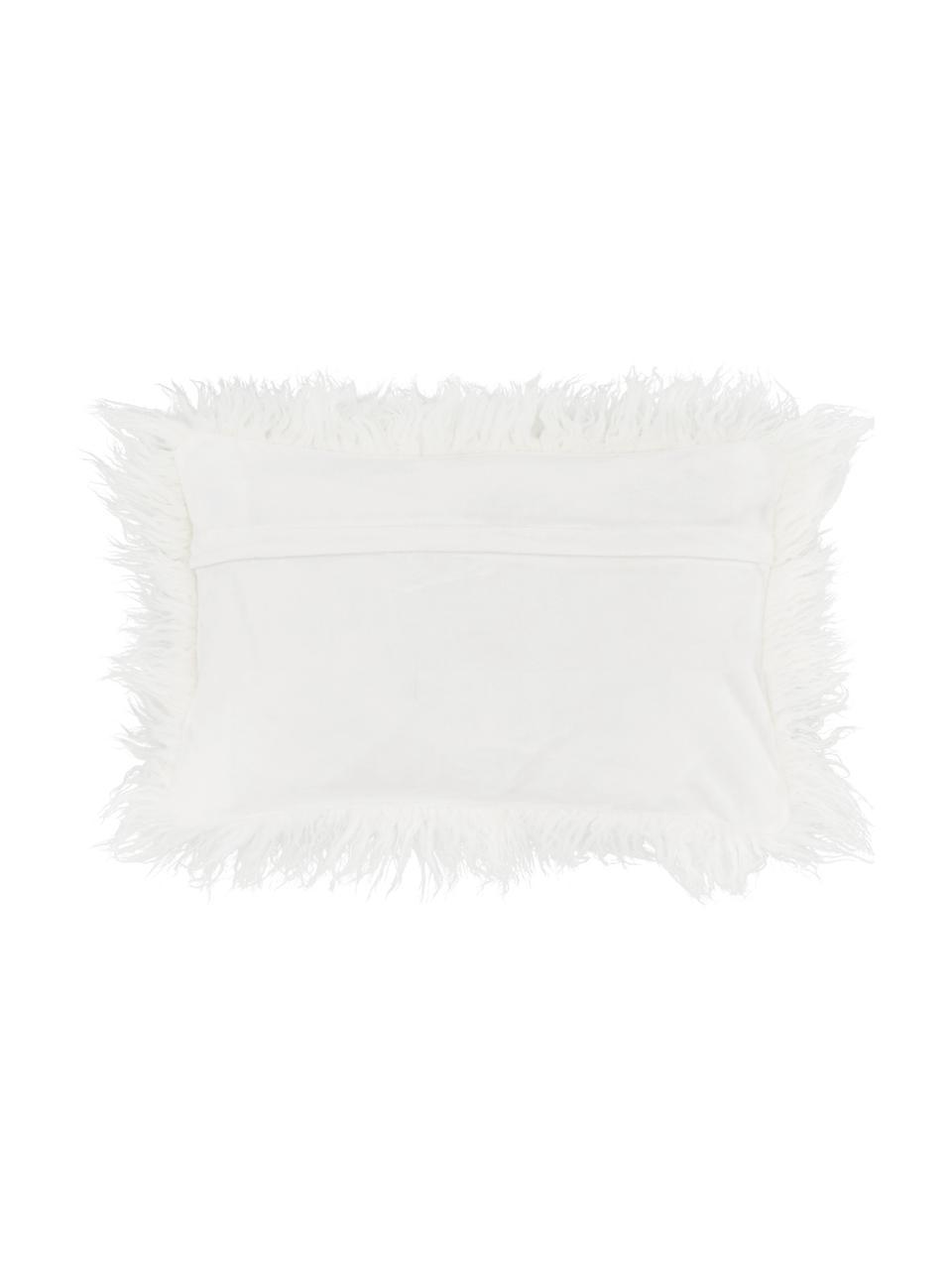 Federa arredo in ecopelliccia soffice Morten, Retro: 100% poliestere, Crema, Larg. 30 x Lung. 50 cm