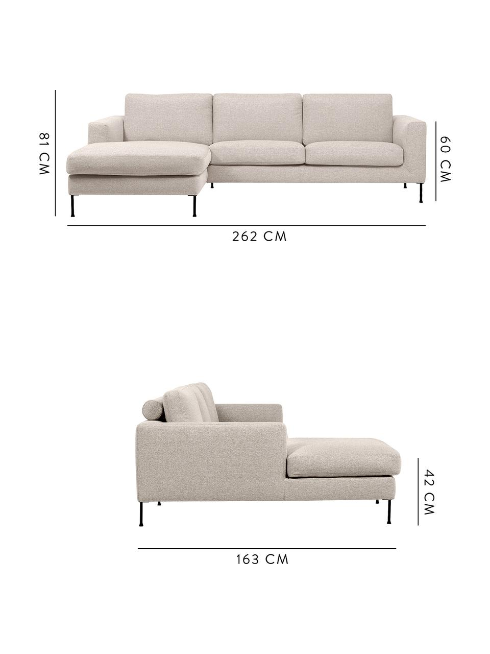 Canapé d'angle 3places Cucita, Tissu beige