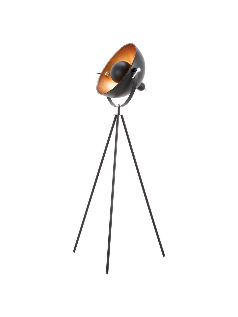 Tripod Stehlampe Captain im Industrial-Style, Dekor: Metall, Lampenfuß: Metall, pulverbeschichtet, Schwarz, Ø 39 x H 145 cm