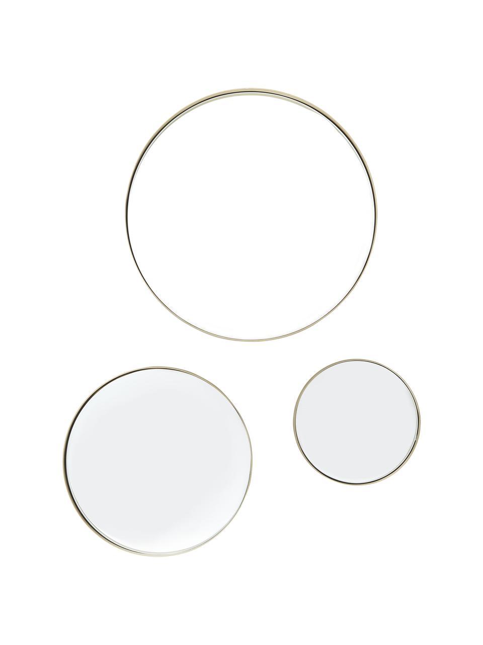 Wandspiegel-Set Ivy mit goldenem Rahmen, Rahmen: Metall, vermessingt, Spiegelfläche: Spiegelglas, Rückseite: Mitteldichte Holzfaserpla, Messing, gebürstet, Sondergrößen
