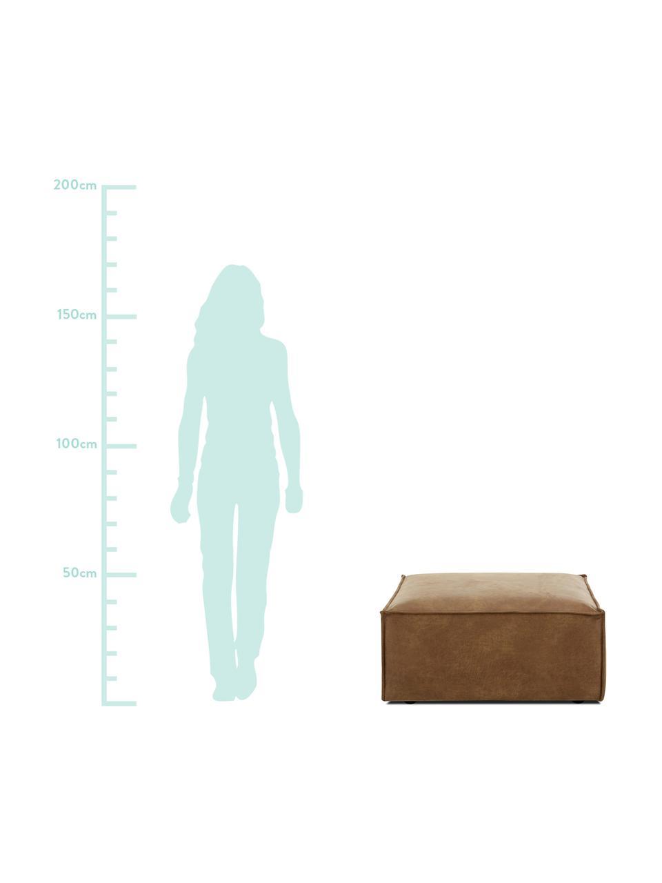 Sofa-Hocker Lennon in Braun aus recyceltem Leder, Bezug: Recyceltes Leder (70% Led, Gestell: Massives Kiefernholz, Spe, Füße: Kunststoff, Leder Braun, 88 x 43 cm