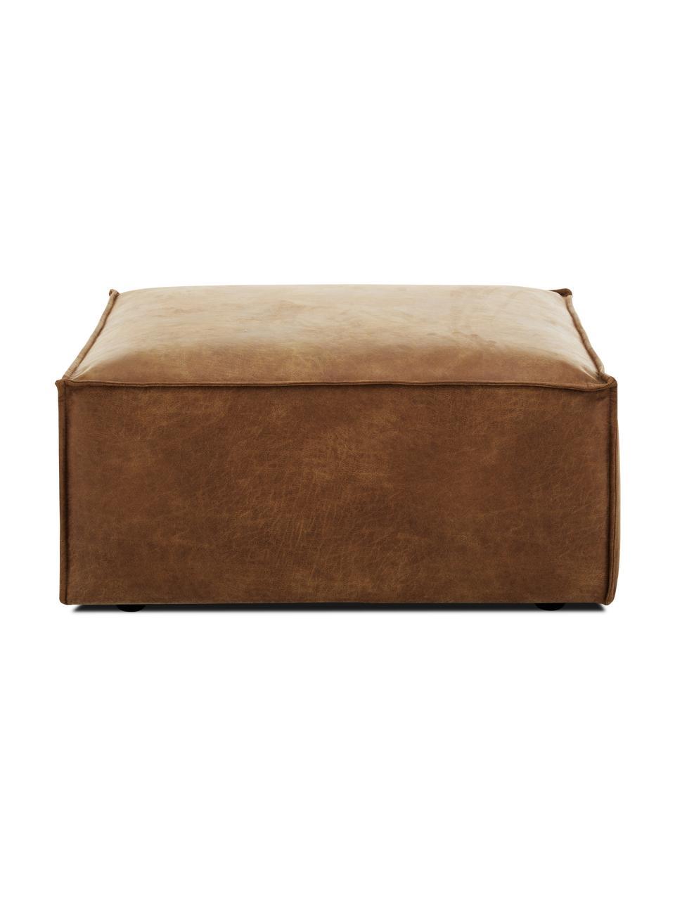 Voetenbank Lennon in bruin van gerecycled leer, Bekleding: gerecycled leer (70% leer, Frame: massief grenenhout, multi, Poten: kunststof, Leer bruin, 88 x 43 cm