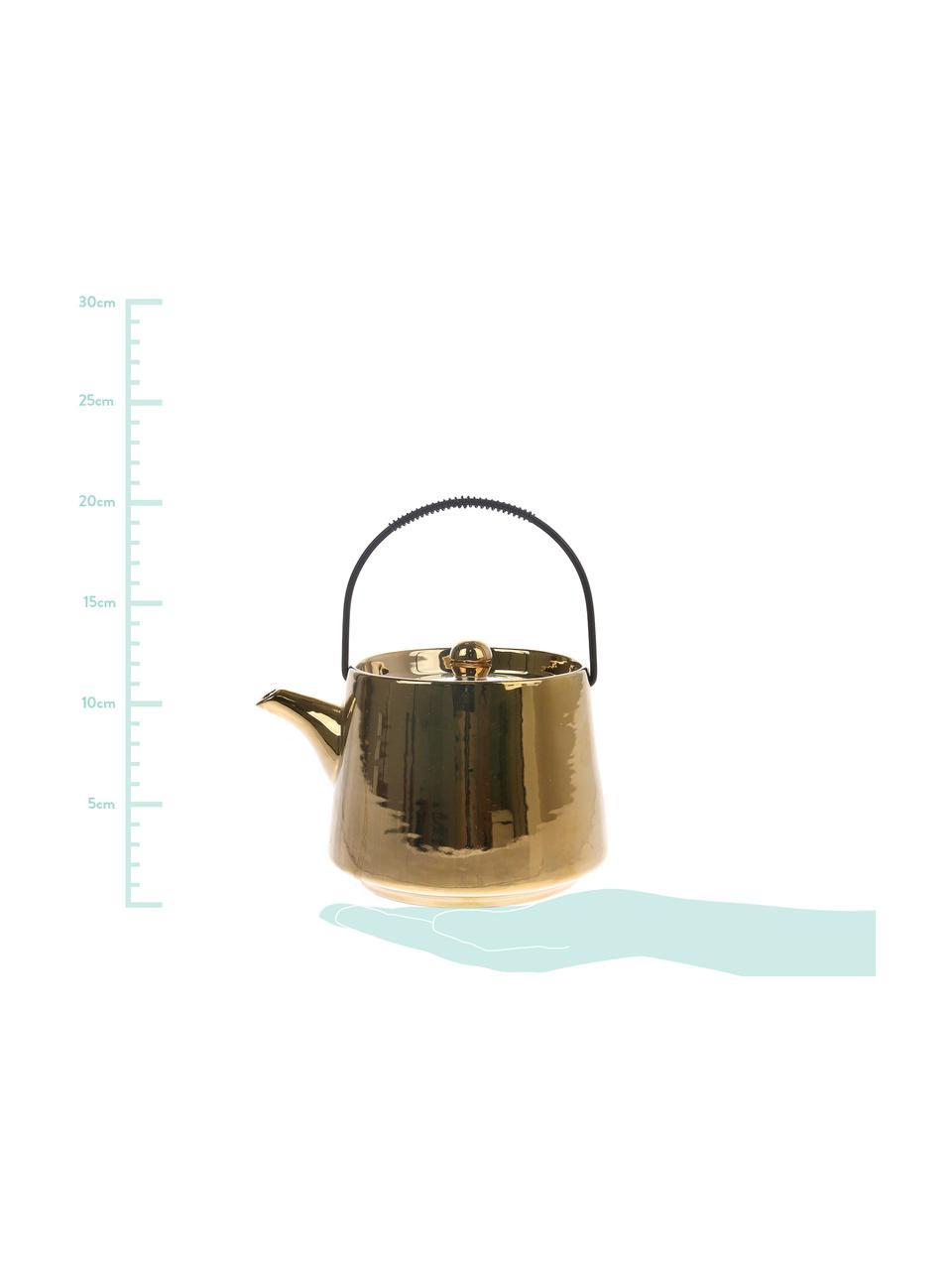Handgemachte Teekanne Bold & Basic, 840 ml, Griff: Stahl, Goldfarben, hochglänzendGriff: Schwarz, 840 ml