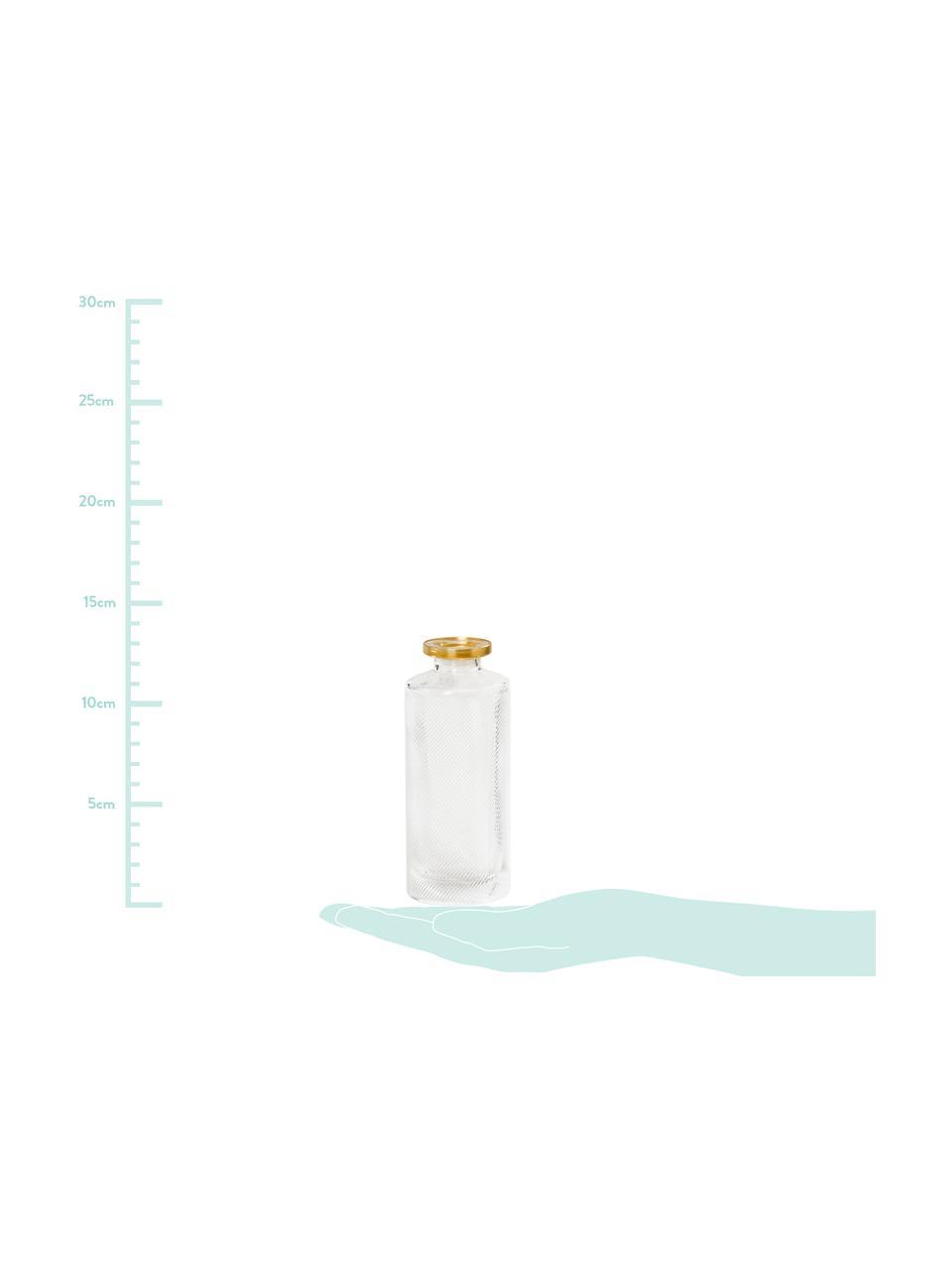 Komplet małych wazonów ze szkła Adore, 3 elem., Szkło lakierowane, Transparentny, odcienie złotego, Ø 5 x W 13 cm