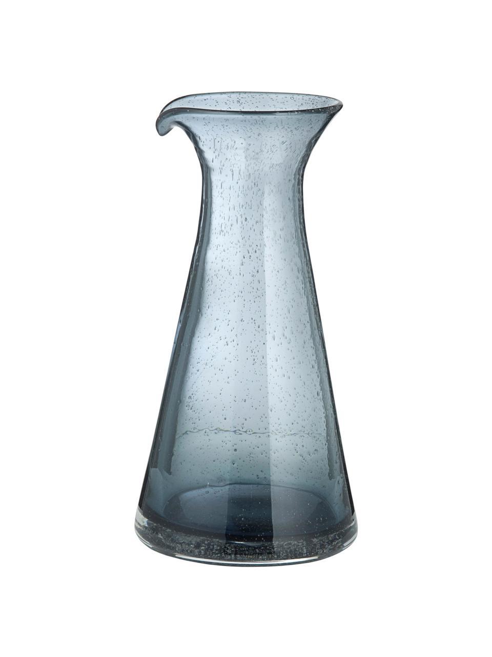 Mundgeblasene Karaffe Bubble mit Lufteinschlüssen, Glas, Transparent, Grau, 800 ml