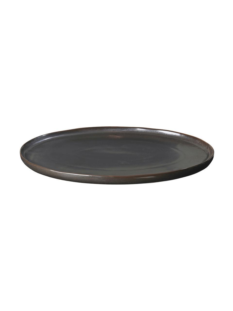 Handgemachte Servierplatte Esrum Night, B 26 x L 39 cm, Steingut, glasiert, Graubraun, matt silbrig schimmernd, 26 x 39 cm