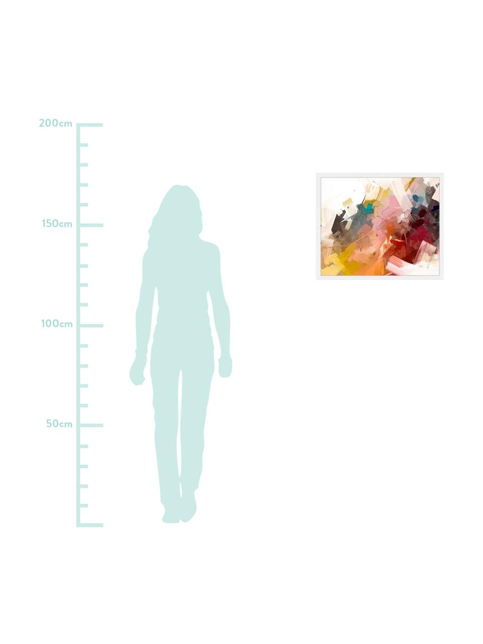 Ingelijste digitale print Abstract Colorful Oil Painting, Afbeelding: digitale print op papier,, Lijst: gelakt hout, Multicolour, 63 x 53 cm