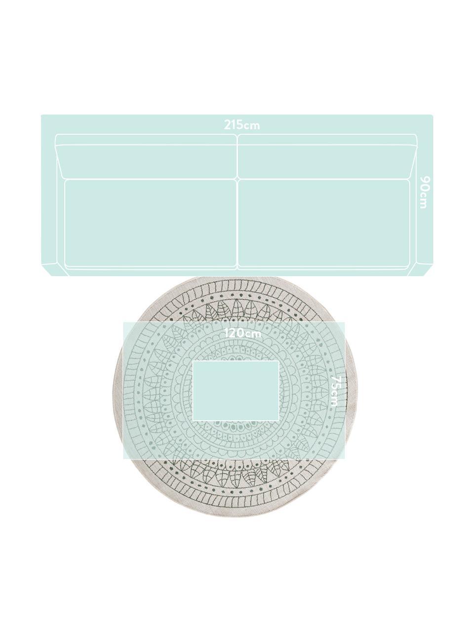 Alfombra redonda reversible de interior/exterior Porto, Verde, crema, Ø 140 cm (Tamaño M)