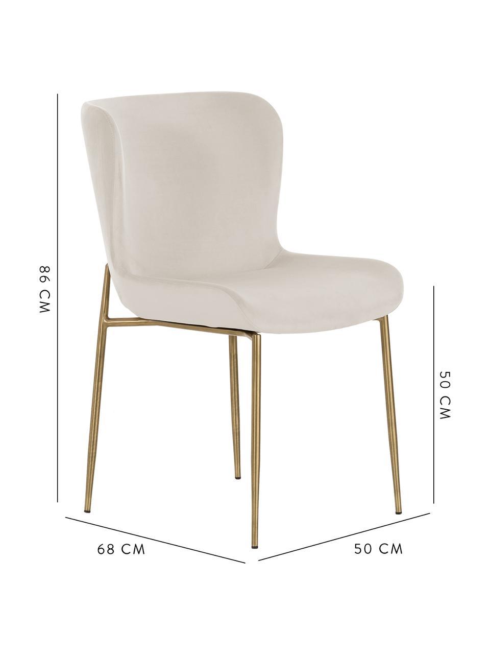 Fluwelen stoel Tess, Bekleding: fluweel (polyester) De be, Poten: gecoat metaal, Fluweel beige, poten goudkleurig, B 49 x D 64 cm