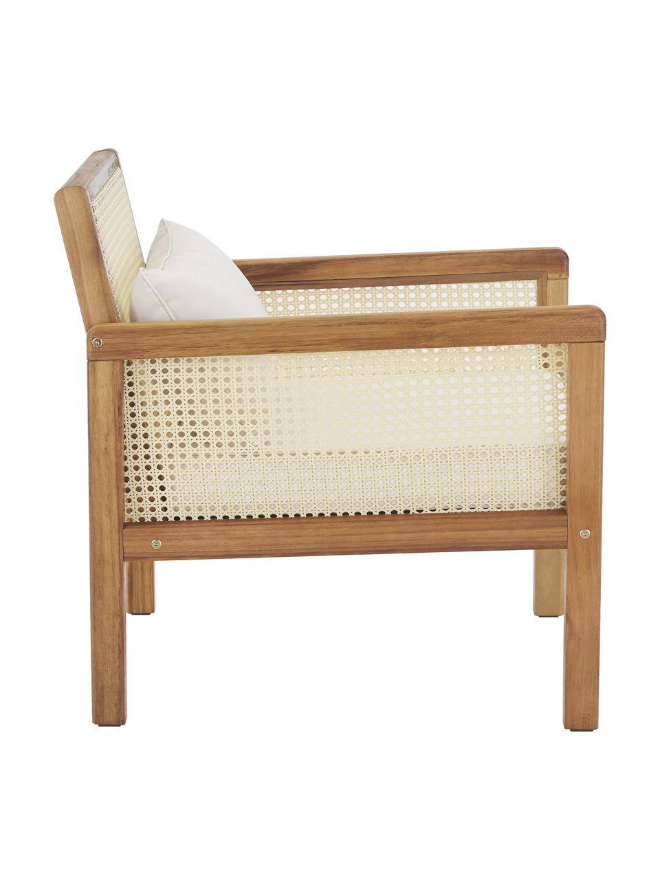 Ogrodowy fotel wypoczynkowy z plecionką wiedeńską Vie, Tapicerka: 100% poliester Dzięki tka, Stelaż: lite drewno akacjowe, ole, Beżowy, S 68 x G 78 cm