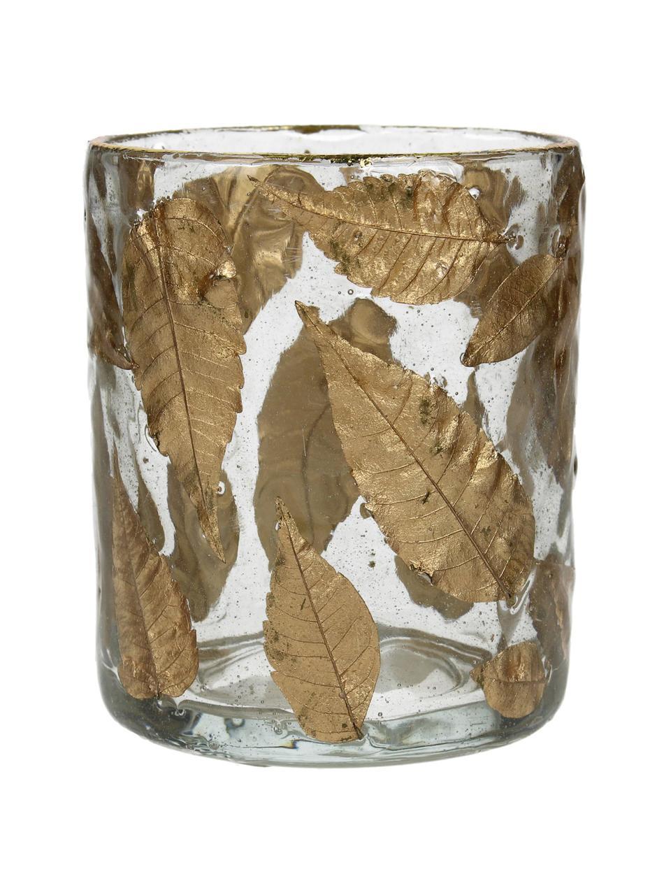 Portalumino Golden Leaf, Vetro, foglie, Trasparente, dorato, Ø 8 x Alt. 9 cm