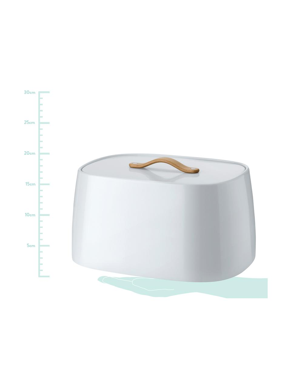 Portapane di design Emma, Manico: legno di faggio, Bianco con sfumature bluastre, Larg. 33 x Alt. 17 cm