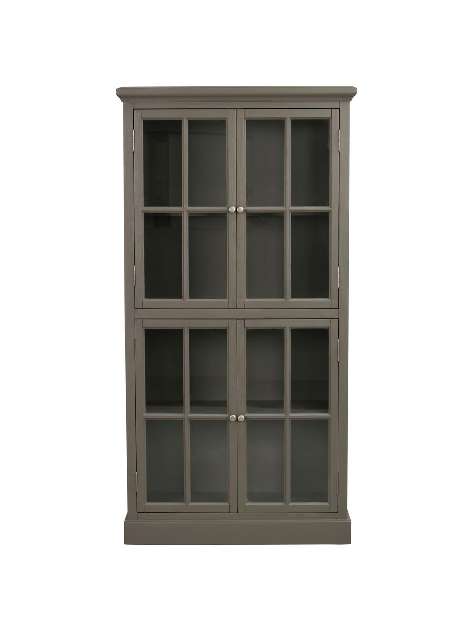 Glasvitrine Lorient in Grau mit Türen, Kiefernholz, lackiert, Mitteldichte Holzfaserplatte (MDF), Grau, 95 x 185 cm