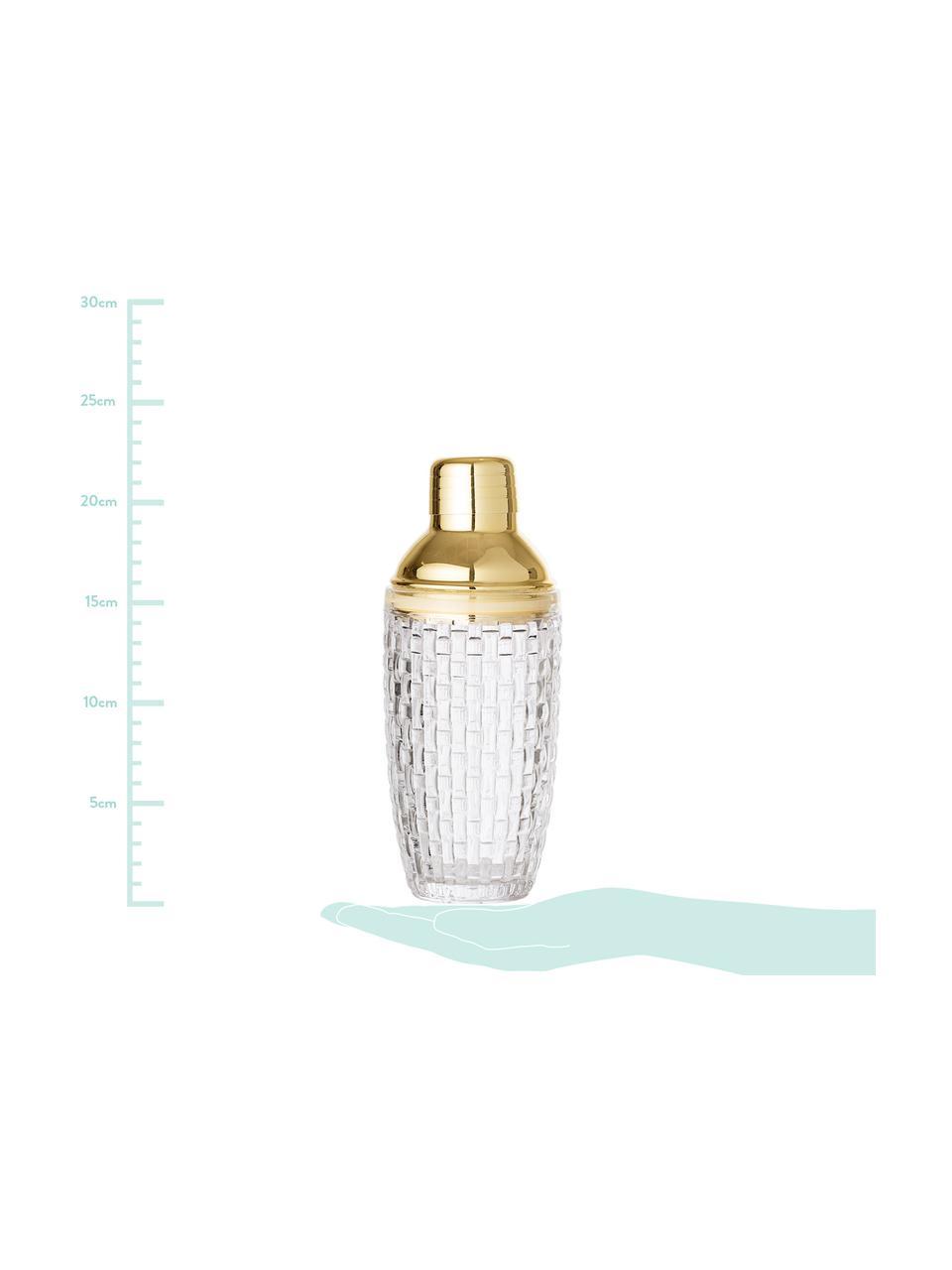 Cocktail shaker Jolin, Shaker: vetro, Trasparente, dorato, Ø 9 x Alt. 22 cm