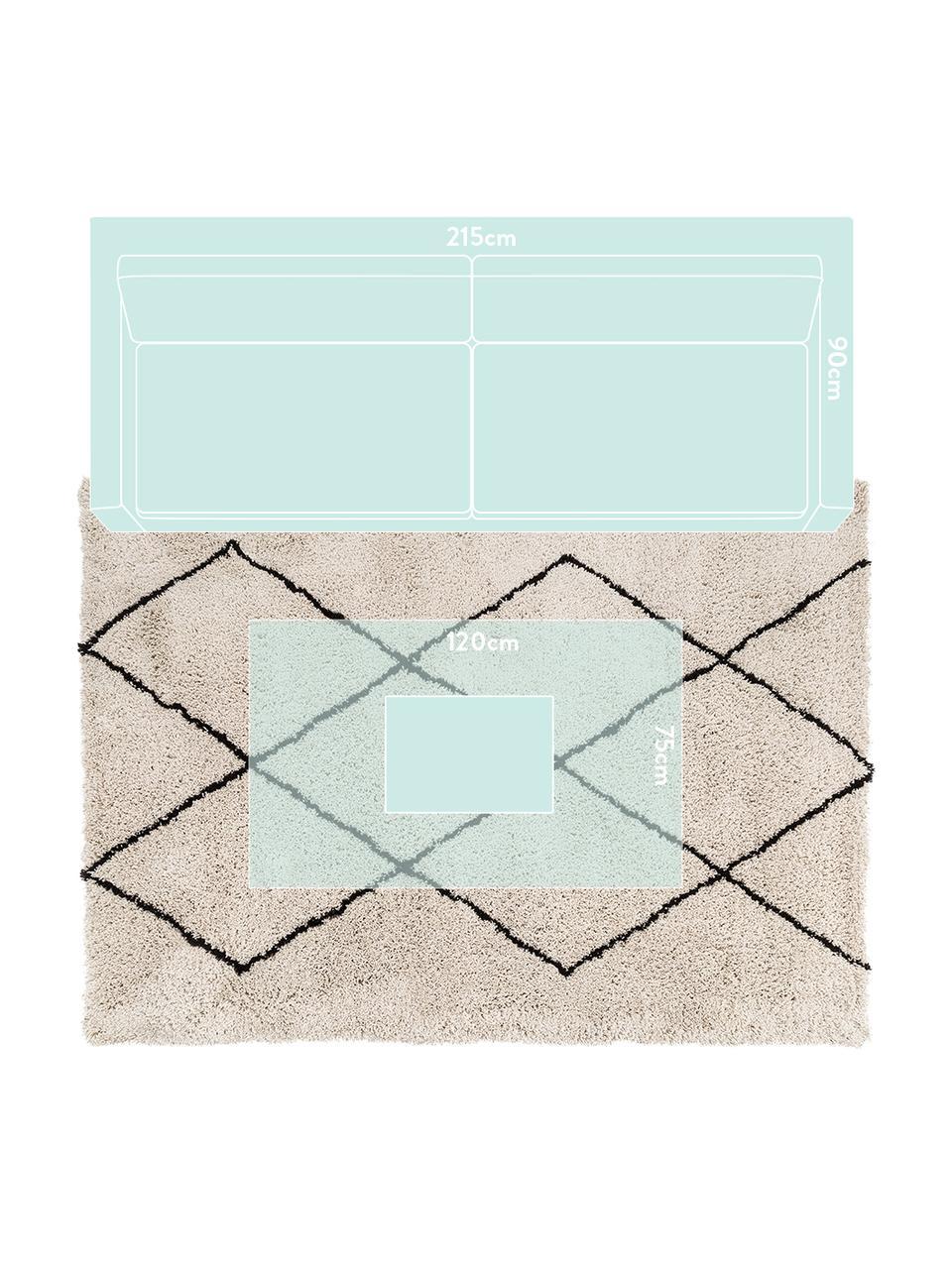 Flauschiger Hochflor-Teppich Nouria, handgetuftet, Flor: 100% Polyester, Beige, Schwarz, B 160 x L 230 cm (Größe M)