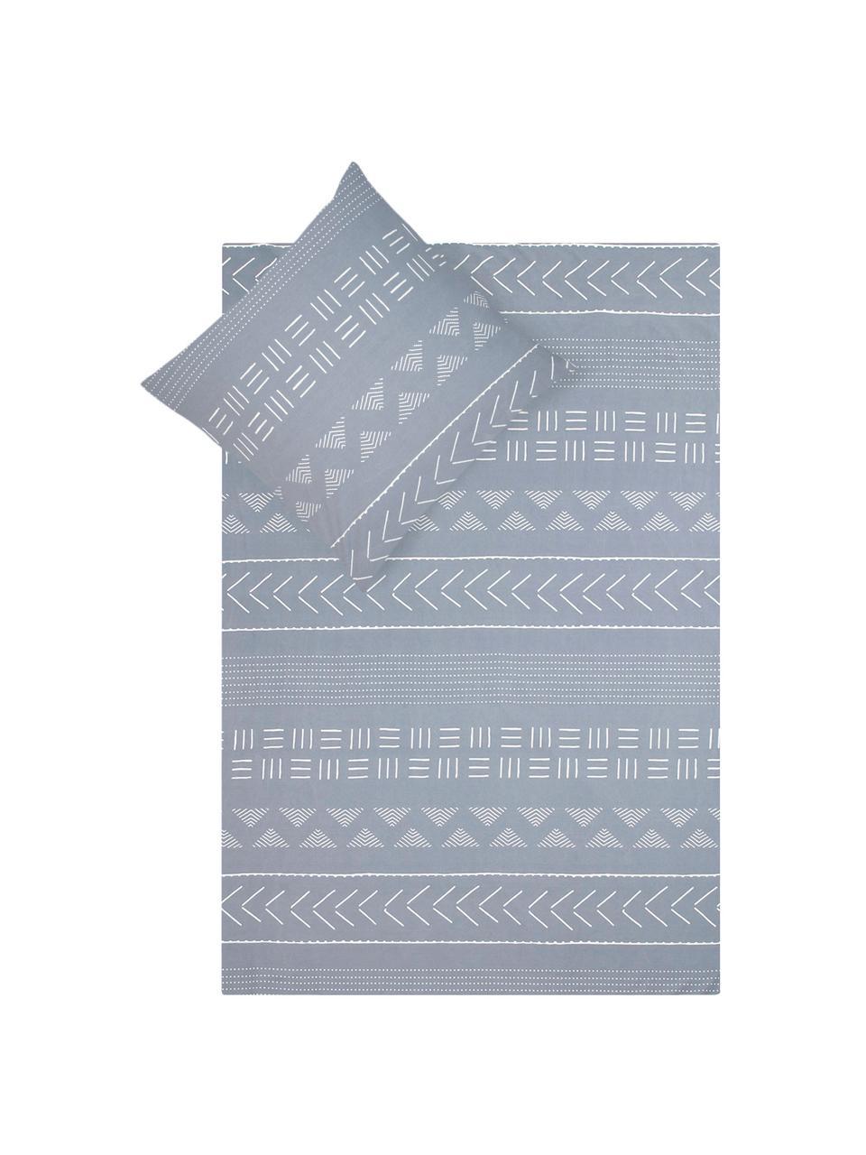 Gewaschene Baumwoll-Bettwäsche Kohana im Boho Style, Webart: Perkal Fadendichte 180 TC, Grau, Ecru, 240 x 220 cm + 2 Kissen 80 x 80 cm
