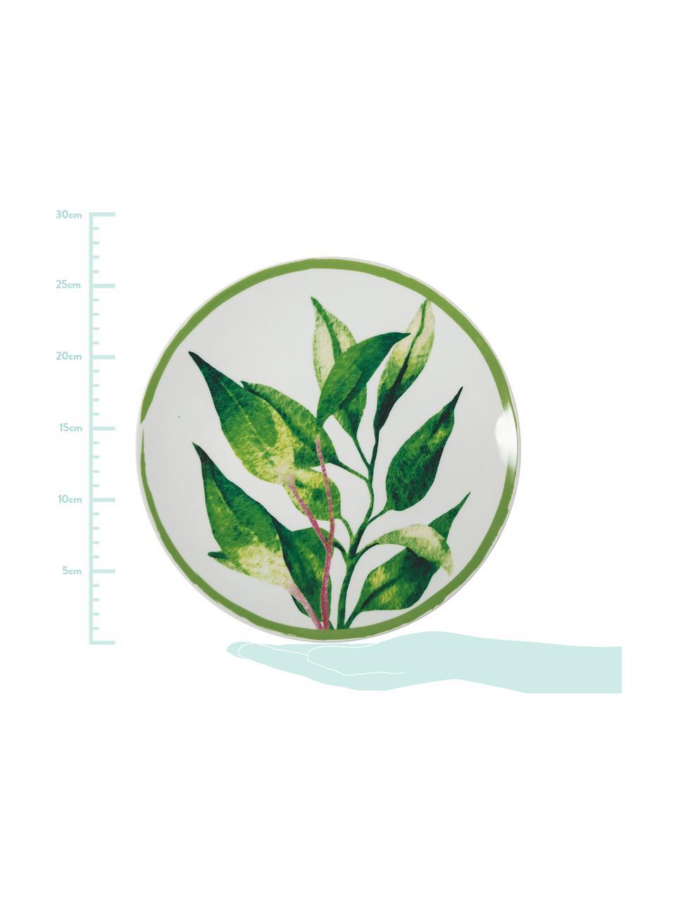 Service de table porcelaine et grès design tropical Botanique, 6 personnes (18élém.), Vert, blanc, jaune