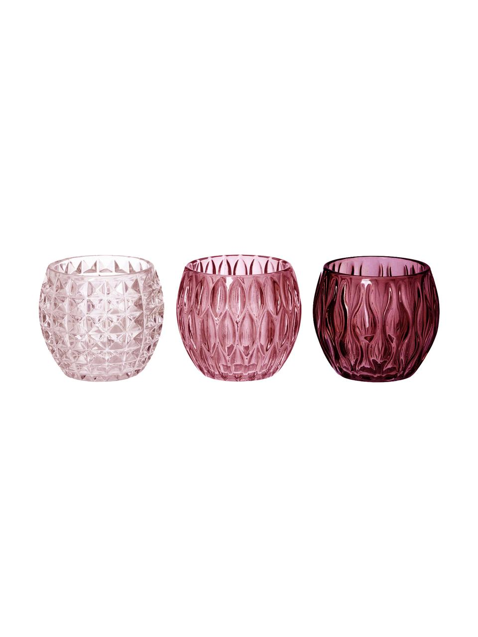 Teelichthalter-Set Aliza, 3-tlg., Glas, Rosatöne, Transparent, Ø 10 x H 9 cm