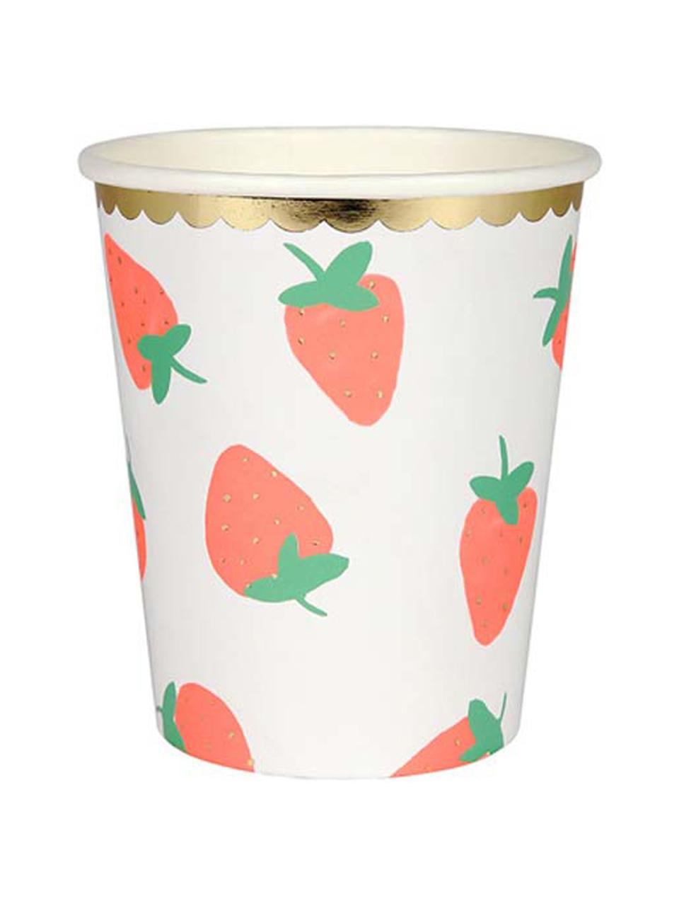 Vasos de papel Strawberry, 8uds., Papel, foliert, Blanco, rosa, verde, Ø 8 x Al 8 cm
