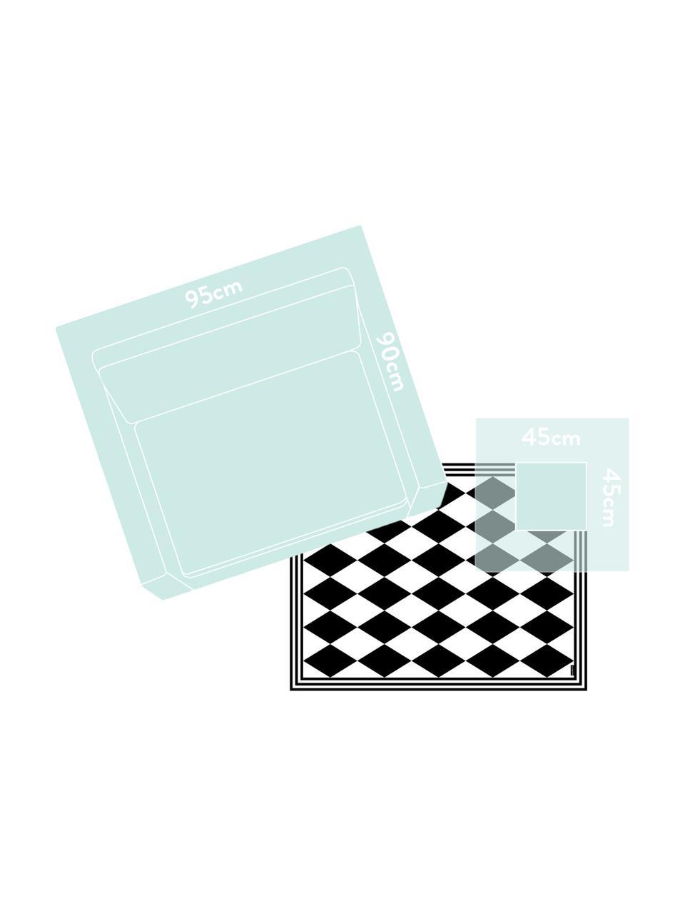 Vinyl-Bodenmatte Bobby II, Vinyl, recycelbar, Schwarz, Weiß, 65 x 85 cm
