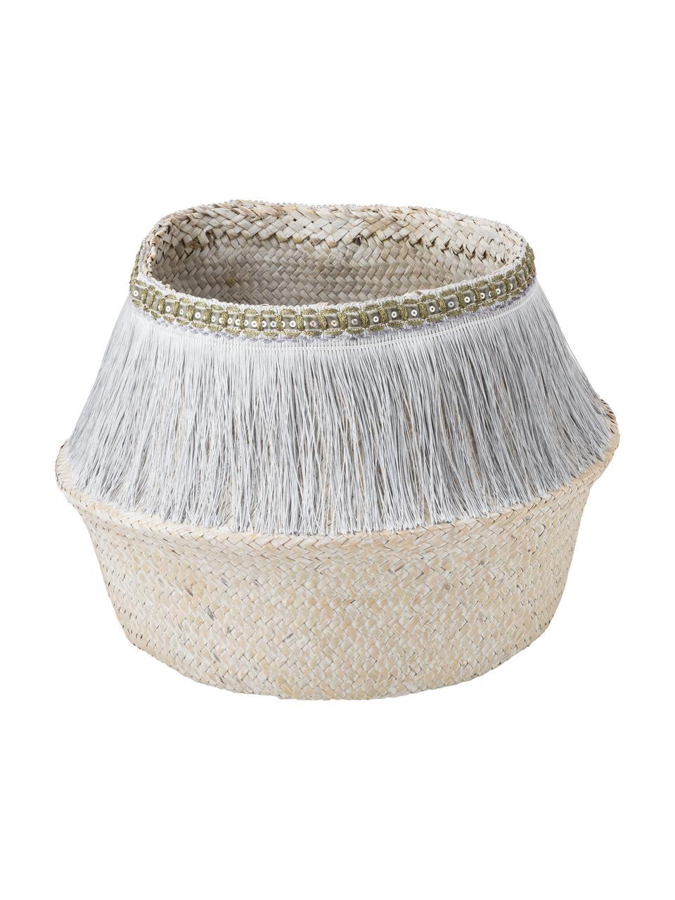 Corbeille de rangement fait à la main Frans, Couleur argentée, blanc