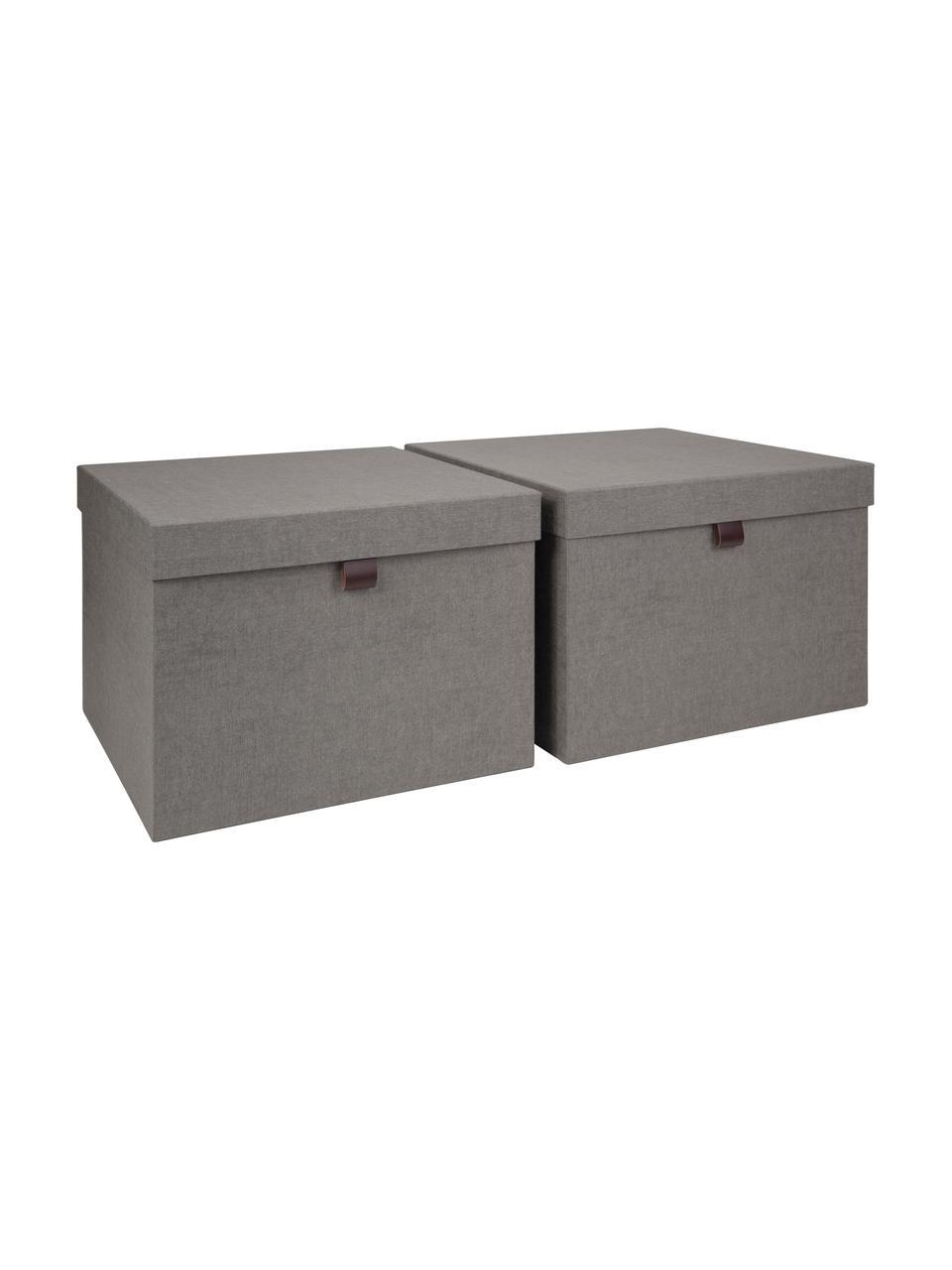 Set 2 scatole Tristan, Scatola: solido, cartone laminato, Manico: pelle, Grigio, Set in varie misure