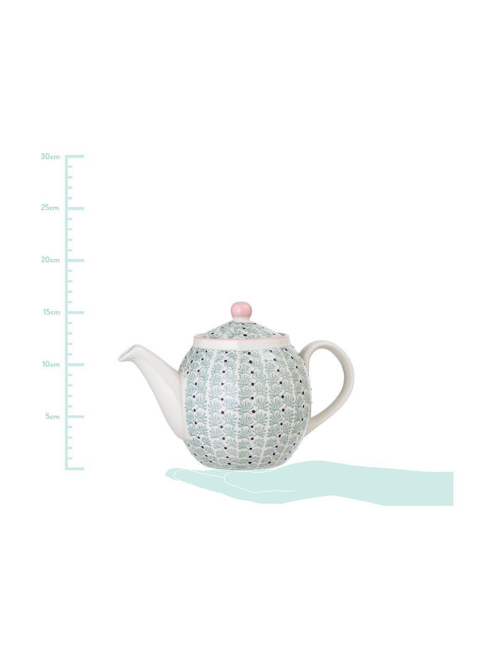 Teekanne Maya, 1.2 L, Steingut, Weiss, Grün, Rosa, Lila, 1.2 L