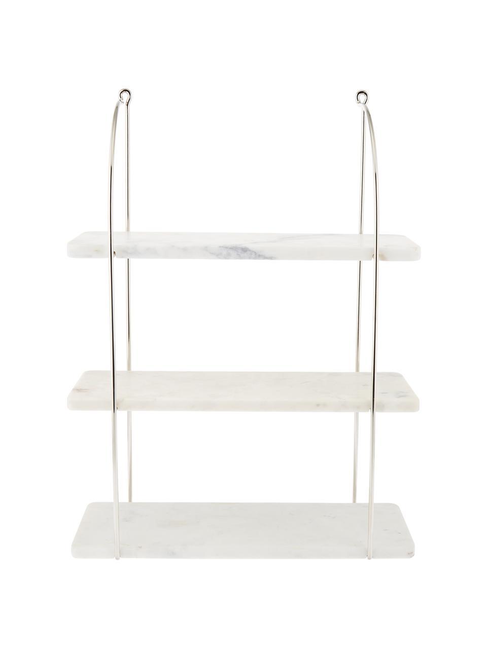 Marmor-Wandregal Porter, Regalbretter: Marmor, Wandhalterung: Edelstahl  Regalbretter: Weiß, marmoriert, 40 x 58 cm