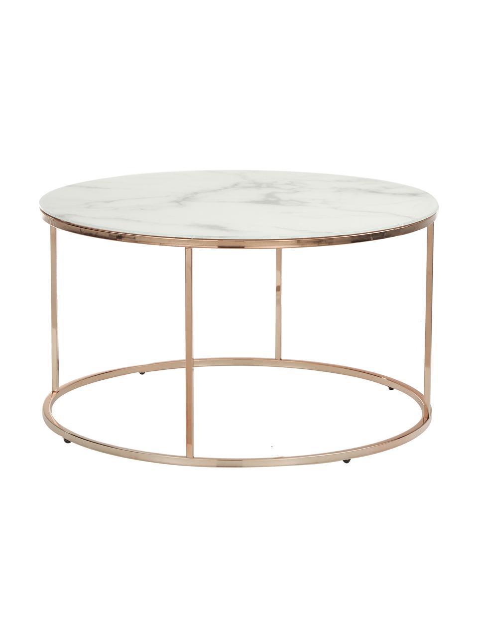 Stolik kawowy ze szklanym blatem Antigua, Blat: szkło, matowy nadruk, Stelaż: stal, mosiądzowany, Białoszary marmurowy, różowe złoto, Ø 80 x W 45 cm